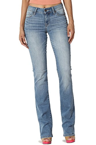TheMogan Women's Mid Rise Slim Fit Bootcut Jeans with Soft Blue Denim Light 7 by TheMogan