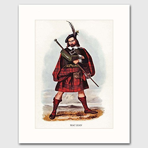 maclean-clan-scottish-last-name-art-w-mat-traditional-highland-dress-wall-decor-matted-print