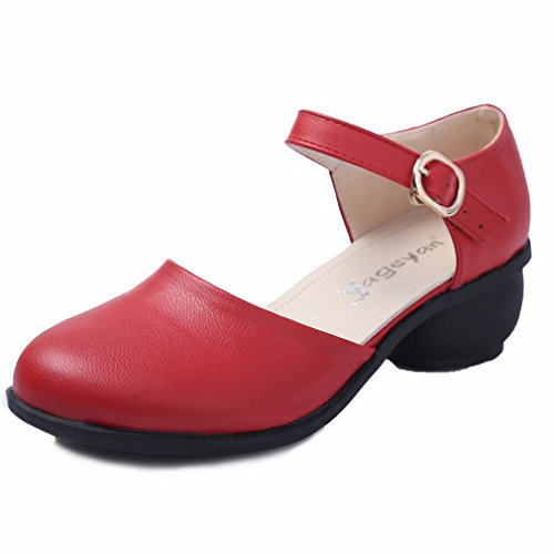 Modern Shoes Modern Dance Shoes Single Jazz Samba Ankle Dance Dance Strap red Leather Dance Sandals BYLE Shoes Square Ms Shoes Onecolor Shoes TPBnWqOXx