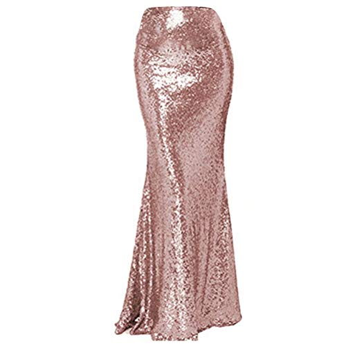 (NaXY Simply Sequin Party Skirt Maxi Dresses for Prom Cocktail Party Evening Casual Dresses Skirt Rose Gold 2 Size 14)