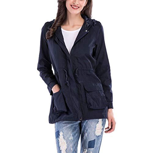 con de larga ZFFde Azul rompevientos cordón exterior Color escudo bolsillo capucha XL manga tamaño Chaqueta cremallera con Invierno qqYwE8g