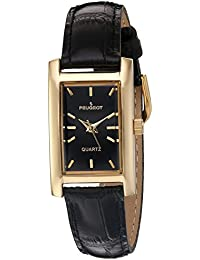 Womens Classy 14K Gold Plated H Rectangle Case Black Leather Band Dress Watch 3007BK