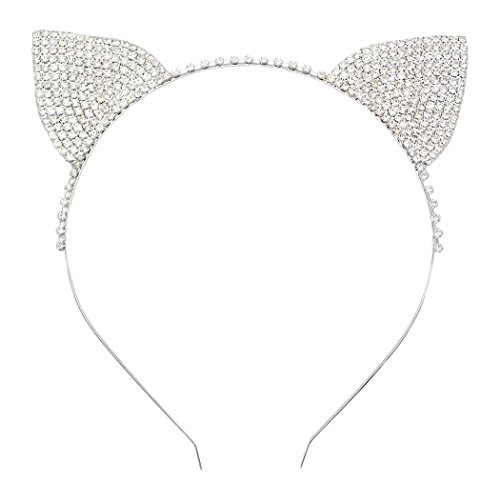 Rosemarie Collections Women's Halloween Costume Crystal Cat Ears Headband ()
