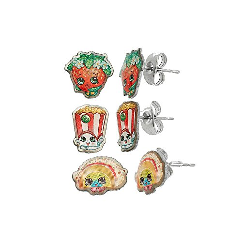 Shopkins Pretend Play Girl's Set of 3 Pierced Earrings - Rainbow Bite, Poppy Corn, Strawberry Kiss