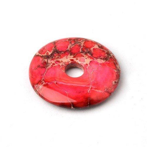 1 x Fuchsia/Rouge Jaspe Impression 40mm Pendentif (Donut) - (CB37268) - Charming Beads