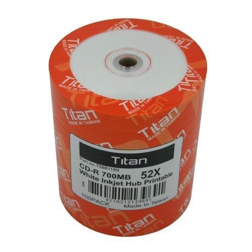 Titan Duplication Grade White Inkjet Metalized Hub Printable 52X CD-R Media 700MB 100 Pack in Plastic Wrap (T5881189)