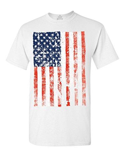 United States of America Flag Vintage T-Shirt Flag Shirts #13500 X-Large White