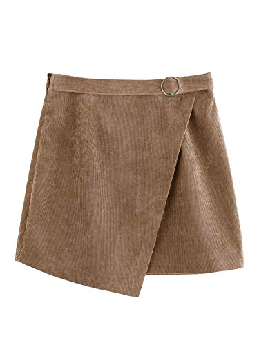 (WDIRARA Women's O-Ring Belt High Waist Wrap A-line Mini Short Skirt Khaki XS)