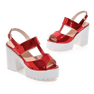 LvYuan Mujer-Tacón Robusto-Creepers-Sandalias-Vestido Informal-Cuero Patentado-Morado Rojo Plata Gris gray