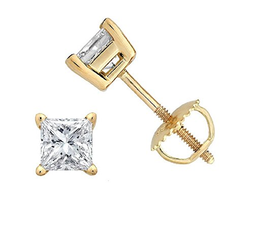PARIKHS Princess cut Diamond stud Promo Quality Screw Back 14K Yellow Gold (0.06ct, Clarity-I3) ()