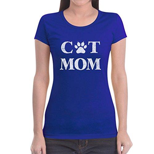 Maglietta Fit Regalo Dei Cat Idea Slim Blu Gatti Mum Da Per Amanti Donna ERqqZwP0x