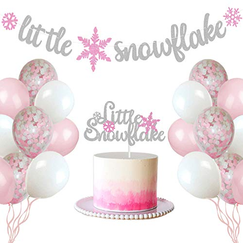 Winter Themed Centerpiece Ideas (Little Snowflake Baby Shower Party Decorations Set Winter Snowflake Cake Topper Banner and Balloons Decor for Baby Girl Winter Onederland Party Decorations Birthday Party Photo)