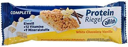 all in® COMPLETE Protein Riegel White Chocolate & Vanilla 25x 40g - Eiweiss Protein Snack mit Weißer Schokolade und Vanille Mahlzeitenersatz Riegel   Fitness Food Food Replacement Fitness Snacks
