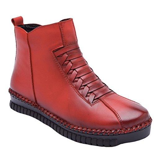 Vogstyle Damen Neue Winter Knöchel Aufladungen Beiläufige Boots Schuhe Style 1-Rot Warm