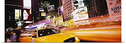 Great BIG Canvas Poster Print entitled Yellow taxi on the road, Times Square, Manhattan, New York City, New York (72 Hours New York Times)