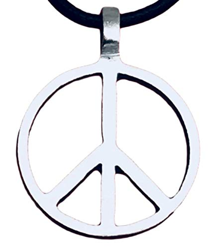 Trilogy Jewelry Pewter Classic Peace Sign Love Hippie Pendant on Leather Necklace]()
