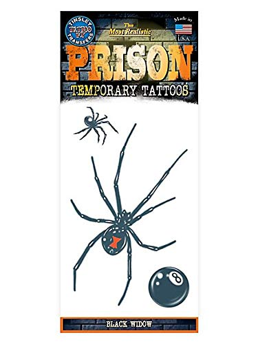 Prison Design Temporary Tattoo Black Widow Spider With Eight -