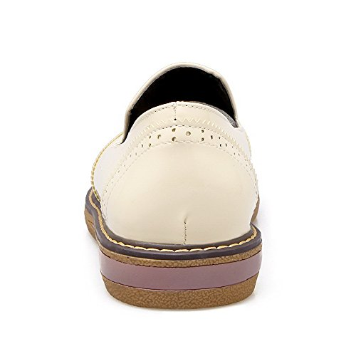 Odomolor Women's Round-Toe PU Solid Low-Heels Pumps-Shoes, Beige, 38