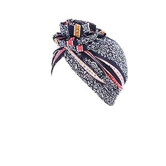 Babyku Flower Women Turban,Cotton Elastic Floral Headwear Chemo Beanie Scarves Coverings Hair Loss Wrap Cap (Navy)