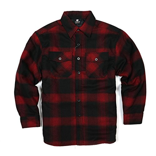 YAGO Men's Quilted Lined Long Sleeve Flannel Plaid Button Down Shirt YG2611 (Dark Red/Black, 2X-Large)