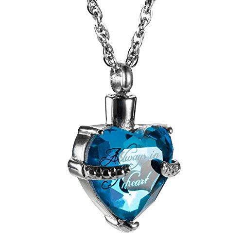 AMIST Always in My Heart with Crystal Glass Cremation Jewelry Urn Necklace Ashes Holder Keepsake