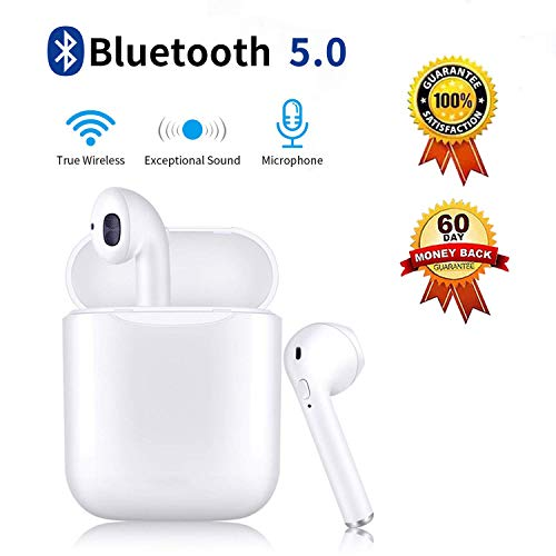 Bluetooth Headphones with Charging Case Noise Canceling Sports Headphones IPX5 Waterproof in-Ear Built-in Mic Headset for iPhone Apple Airpods 2019New White