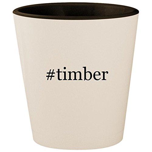 (#timber - Hashtag White Outer & Black Inner Ceramic 1.5oz Shot Glass)
