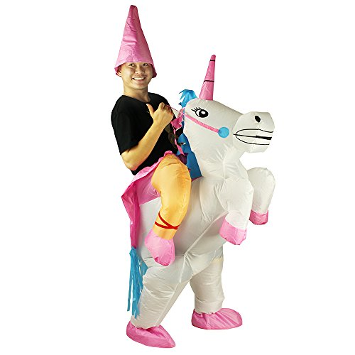 Unicorn Inflatable Rider Costume Halloween Blow Up Costume for Men and Children (Adult Unicorn) -