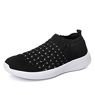 Walking Shoes for Women Slip on Athletic Lightweight Gym Workout Nurse Memory Insole Soft Tennis Shoes (5, Black)