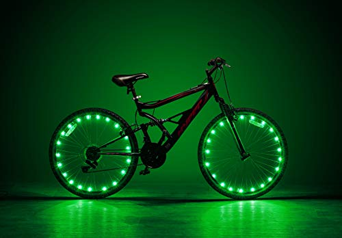 LED Bike Wheel Lights - 2 Tire Pack - Waterproof Tire Lights - Very Bright Tire Lights - Perfect for Safety and Fun - for Kids and Adults - Green