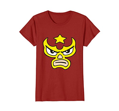 Womens Luchador Love Yellow Mask Cartoon Face Graphic T-Shirt Small (Female Luchador Costumes)