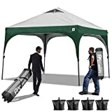 ABCCANOPY Pop Up Canopy Beach Canopy 10′ x 10'Better Air Circulation Canopy with Wheeled Carry Bag+ Sandbags × 4, Ropes × 4& Stakes × 4, Grey with Green For Sale