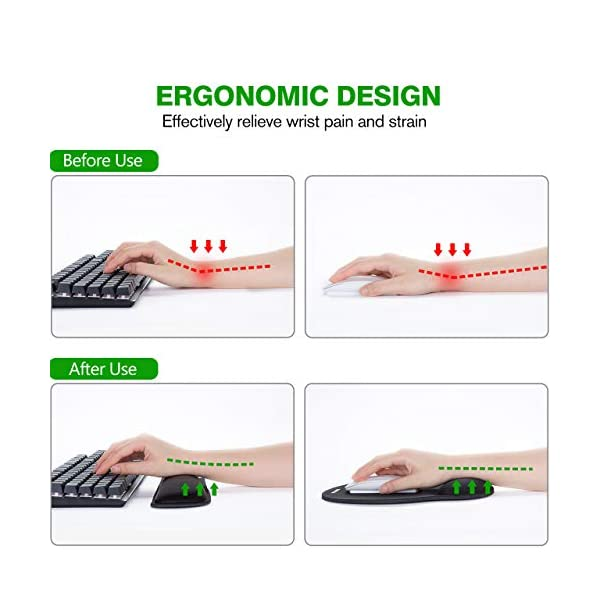 VicTsing Keyboard Wrist Rest and Mouse Pad with Wrist Support, Ergonomic Mouse Pad, Durable & Comfortable & Lightweight…