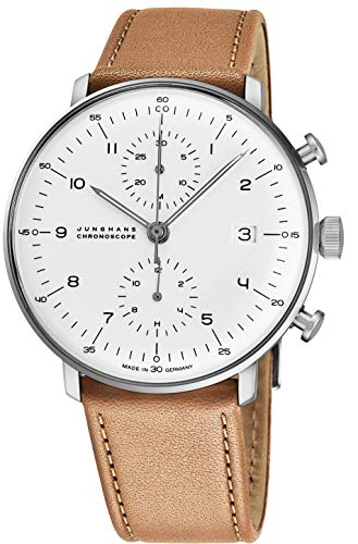 - Junghans Max Bill Chronoscope Mens Automatic Chronograph Watch - 40mm Analog Silver Face with Luminous Hands and Date - Stainless Steel Brown Leather Band Luxury Watch Made in Germany 027/4502.00