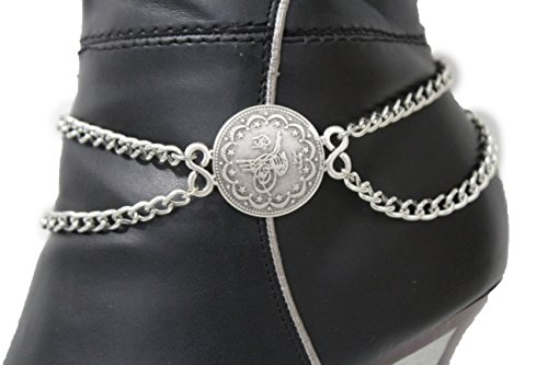 [TFJ Women Western Fashion Jewelry Boot Anklet Bracelet Metal Chain Shoe Circle Coin Charm Silver] (Horse Rider Costumes Sale)