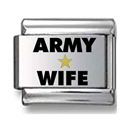 Gold and Black Army Wife Laser Italian Charm