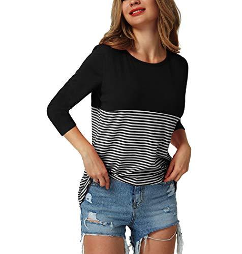 (TOUTOUAI Women's Short Sleeve T Shirt Round Neck Stripe High Waist Blouse (X-Large, 2 Black B))