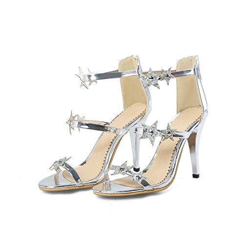 Sandalias De Tacones Aguja Mujer Silver Mei Peep La Toe amp;s gqxBX