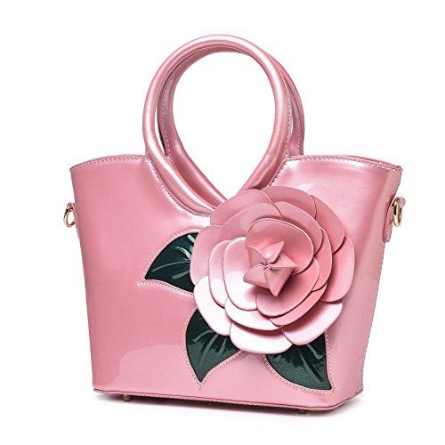 Eleganti Borse Vernice Borse Fiore Borse Borsa Rosa Totalizzatore KAXIDY Tracolla Pelle Afqdw4YY