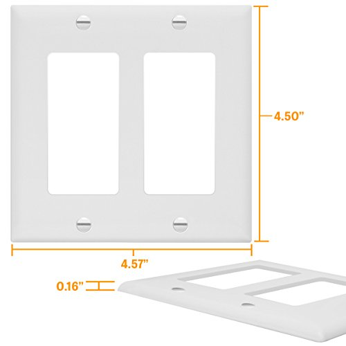 Enerlites 8832-W-10PCS Decorator Light Switch/Receptacle Outlet Wall Plate, Standard Size 2-Gang, Polycarbonate Thermoplastic,White (10 Pack) by Enerlites (Image #5)