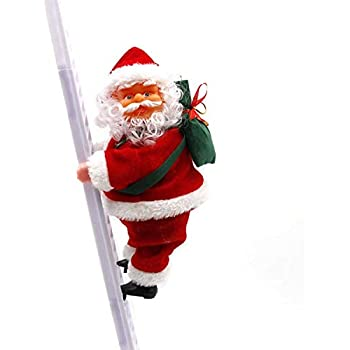 Santa Climbing Ladder Electric Santa Claus Climbing Rope Ladder Decoration Christmas Super Climbing Santa Plush Doll Toy Hanging Ornament Tree Indoor Outdoor Holiday Party Home Door Wall Decoration