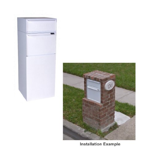(dVault Full Service Vault DVCS0015 Secure Curbside Mailbox/Package Drop with Locking Letterbox (White))