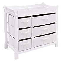 Costzon Baby Changing Table Infant Diaper Nursery Station w/6 Basket Storage Drawers (White)