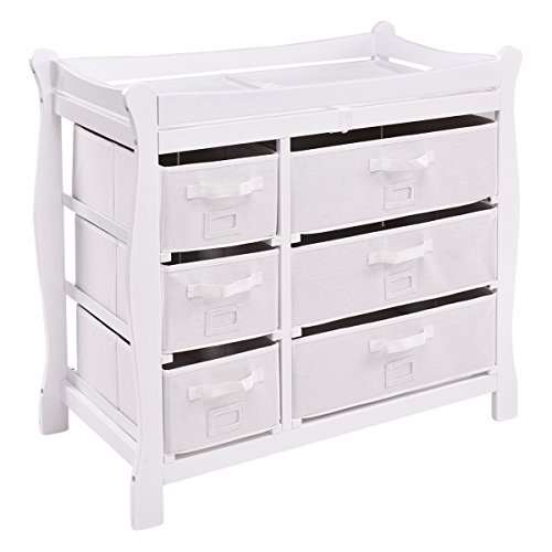 Lowest Price! Costzon Baby Changing Table, Infant Diaper Changing Table Organization, Newborn Nurser...