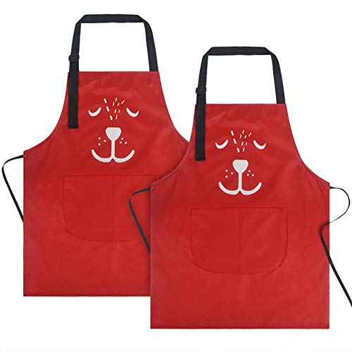 KinHwa Waterproof Kids Apron 2 Pockets Kichen Chef Aprons Adjustable Children Bib Apron Cooking, Baking, Painting and Party Perfect for 3-6 Years Old (Red 2 - Childrens Bib Style Apron