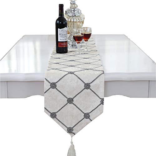 (Luxury Western Morden White Checker Table Runners 90 inch Approx for Wedding Party and Quilt Patterns)