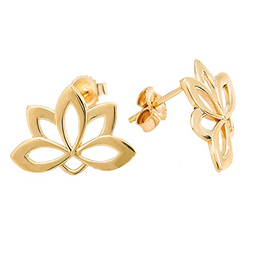10K Yellow Gold Lotus Blossom Flower Stud Earrings ()