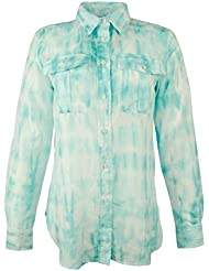 Lauren Ralph Lauren Womens Plus Silk Blend Sheer Button-Down Top
