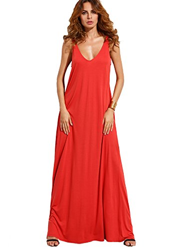 Verdusa Women's Casual Sleeveless Deep V Neck Summer Beach Maxi Long Dress Red L