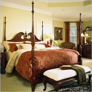 American Drew Cherry Grove 3 Piece King Pediment Wood Poster  Bedroom Set